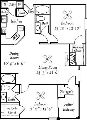 1,187 sq. ft. Chardonnay floor plan