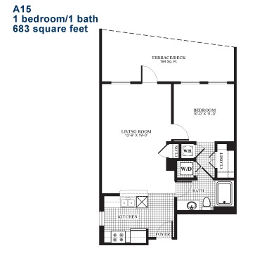 694 sq. ft. A15.2 floor plan