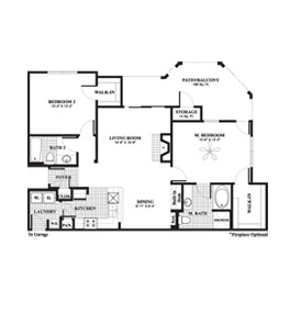 1,188 sq. ft. to 1,393 sq. ft. Juniper floor plan