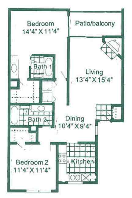 1,040 sq. ft. B2 floor plan
