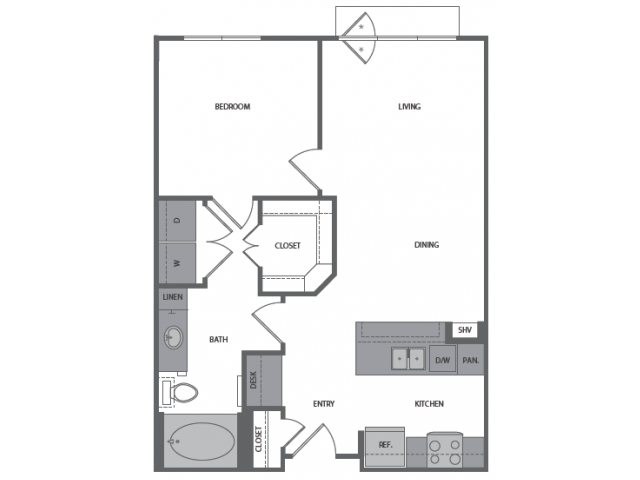 690 sq. ft. B floor plan