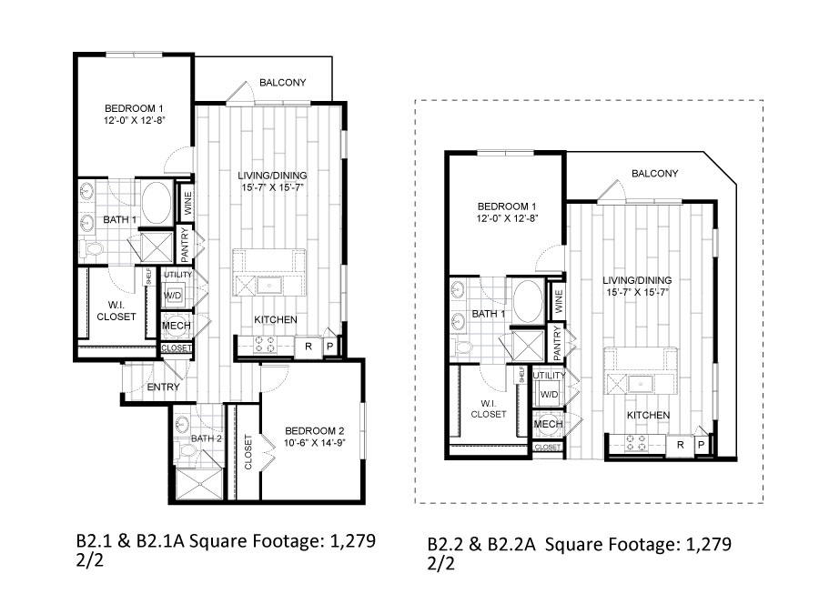 1,279 sq. ft. B2.1 floor plan