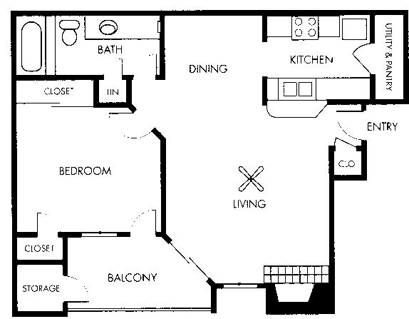 683 sq. ft. Da Vinci floor plan