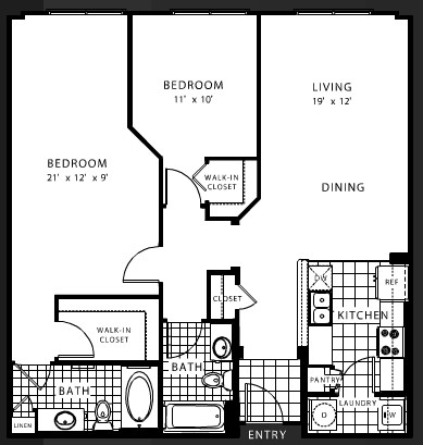 1,094 sq. ft. B5 floor plan