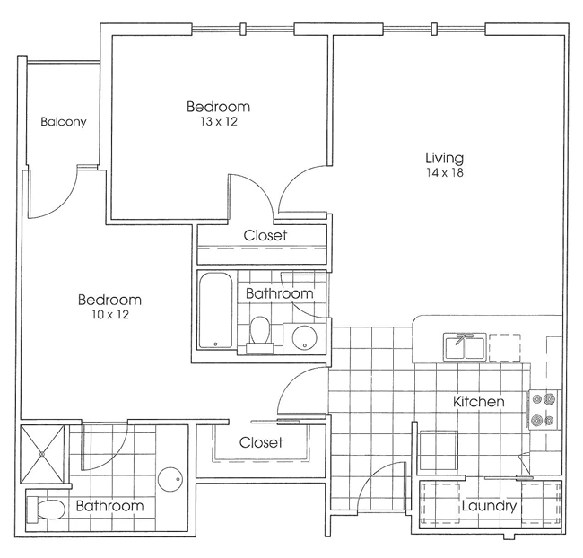 1,016 sq. ft. Armadillo floor plan