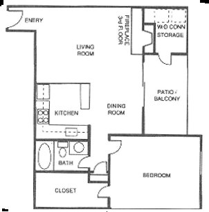 741 sq. ft. C floor plan