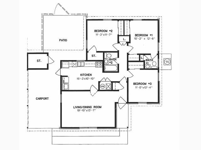 1,167 sq. ft. to 1,214 sq. ft. floor plan