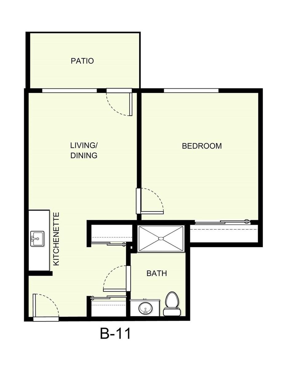 569 sq. ft. B11 floor plan