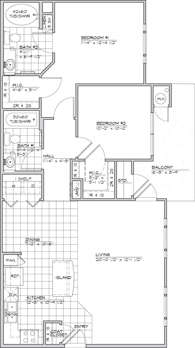 1,010 sq. ft. NARANCO 60% floor plan