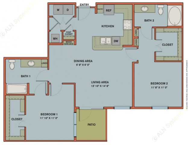 1,139 sq. ft. B7.1 floor plan