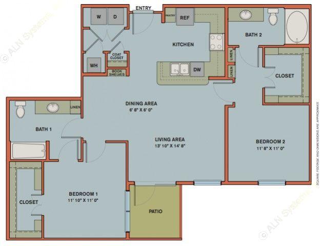 1,139 sq. ft. B7.1 floor plan