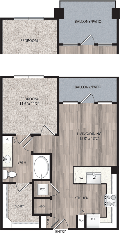 686 sq. ft. to 795 sq. ft. A1 floor plan