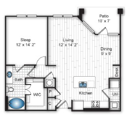 896 sq. ft. A3 floor plan
