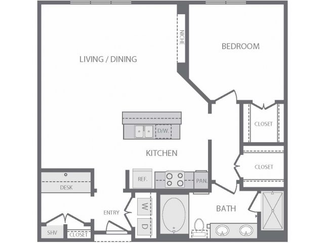 987 sq. ft. to 1,044 sq. ft. A14 floor plan
