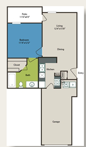 611 sq. ft. 1 w/Gar floor plan
