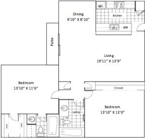 1,040 sq. ft. B0 floor plan