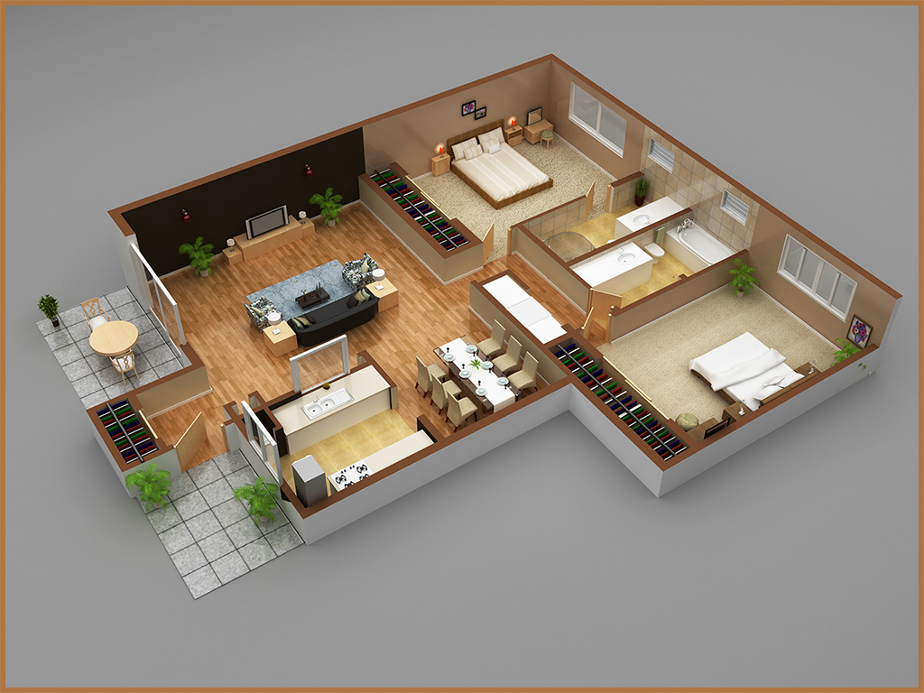 1,200 sq. ft. B1 floor plan