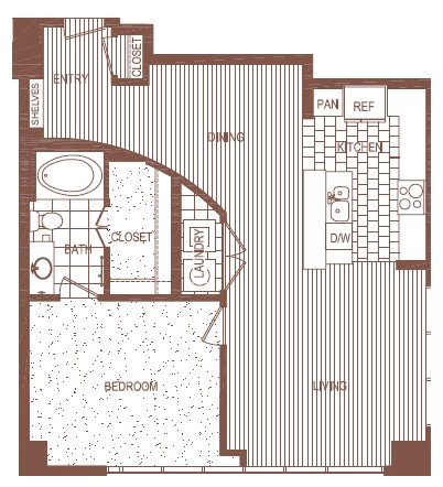 939 sq. ft. C floor plan