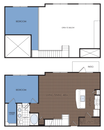 1,105 sq. ft. B1L floor plan