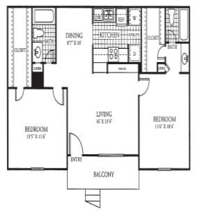 976 sq. ft. floor plan
