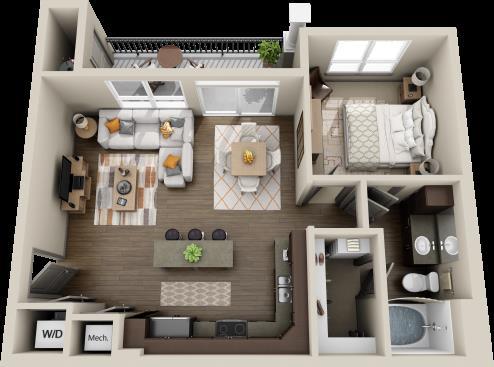 714 sq. ft. Palm floor plan