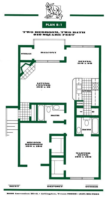 940 sq. ft. B1 PH I floor plan