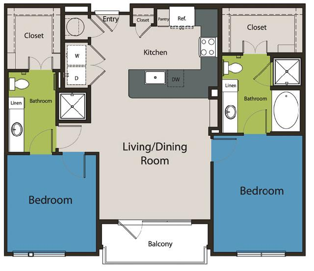 1,085 sq. ft. B1 floor plan