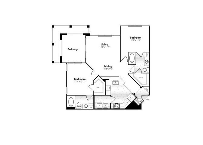 1,141 sq. ft. Galapagos floor plan