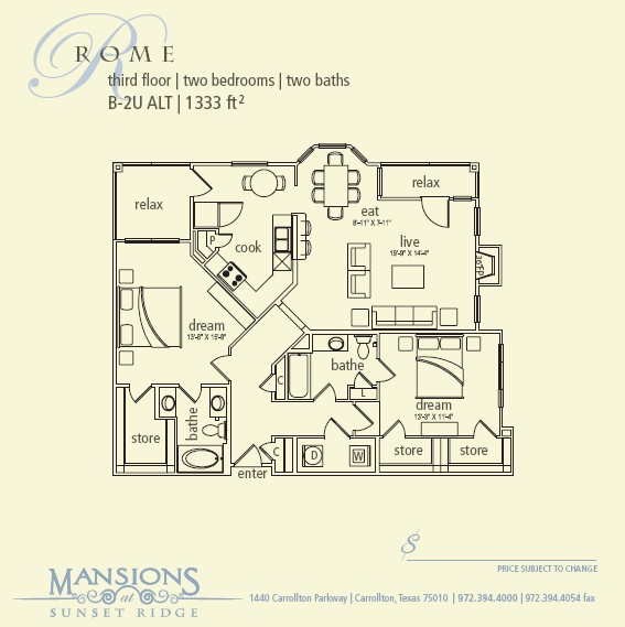 1,333 sq. ft. Rome floor plan