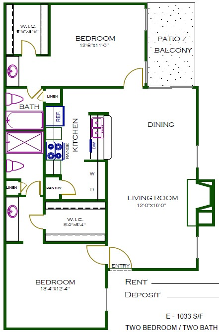 1,033 sq. ft. C3 floor plan