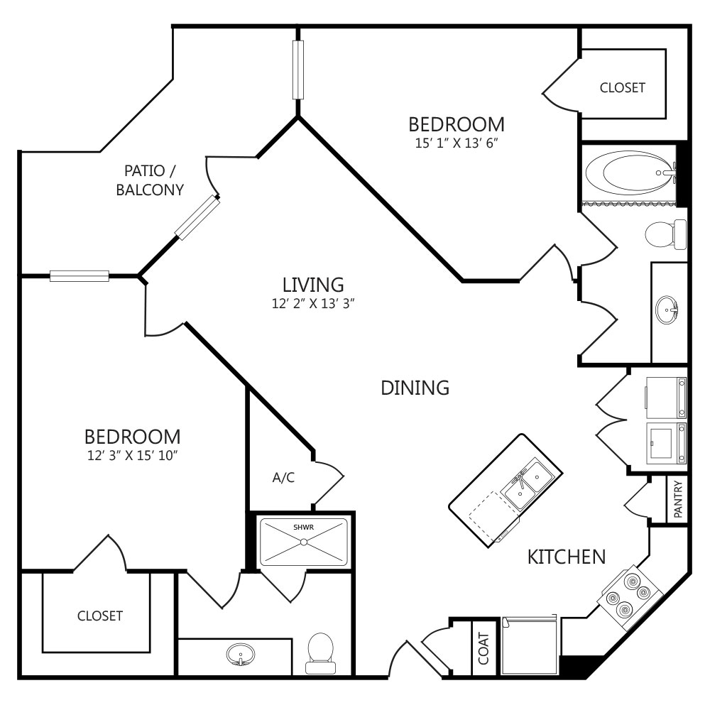 1,237 sq. ft. B2 floor plan