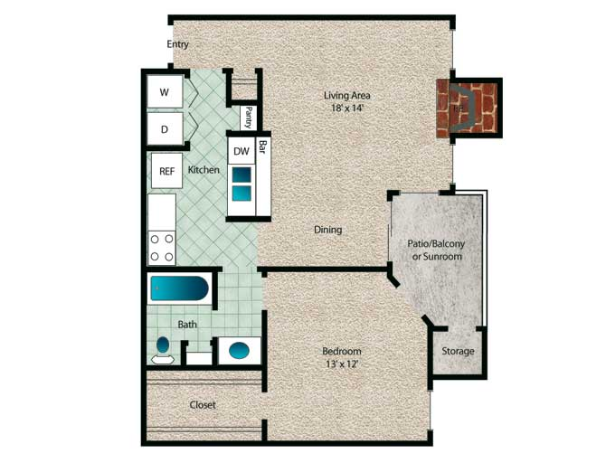 684 sq. ft. to 738 sq. ft. Redwood floor plan