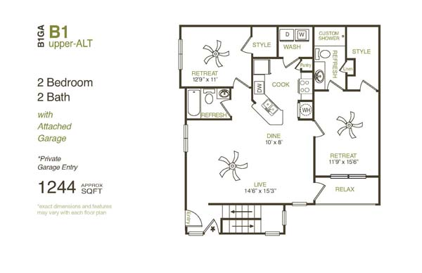 1,244 sq. ft. B1UGA floor plan