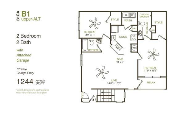 1,244 sq. ft. B1UGA floor plan