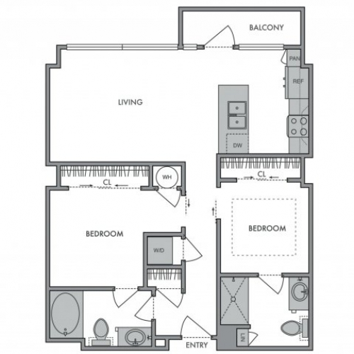 919 sq. ft. H floor plan