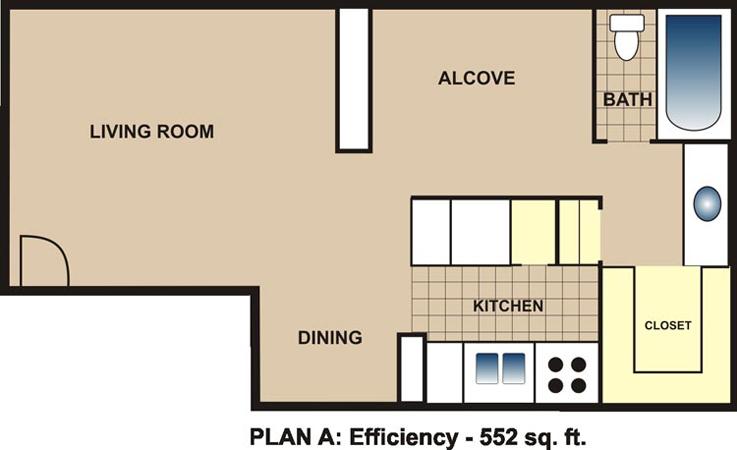 552 sq. ft. A floor plan