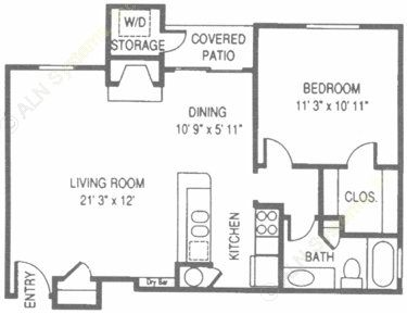 653 sq. ft. WT floor plan