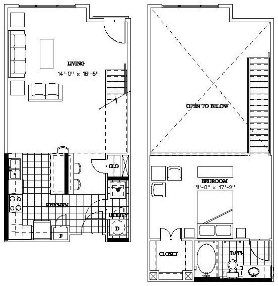 905 sq. ft. L2 floor plan