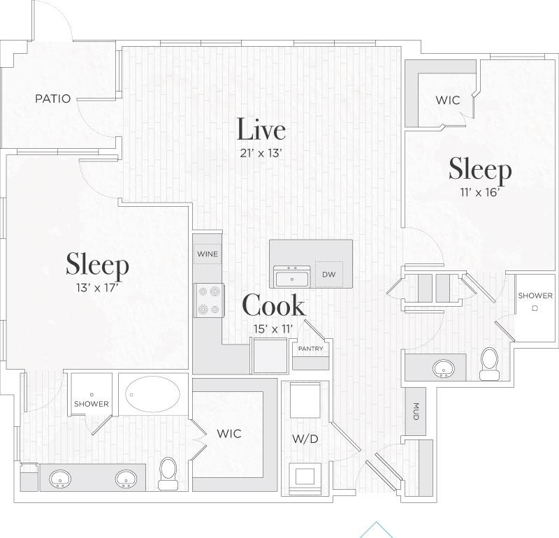 1,210 sq. ft. Matteo III floor plan