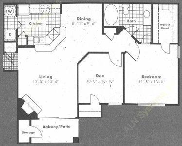 912 sq. ft. Provence floor plan