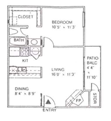 599 sq. ft. A floor plan