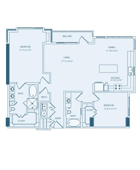 1,297 sq. ft. to 1,370 sq. ft. B4 floor plan