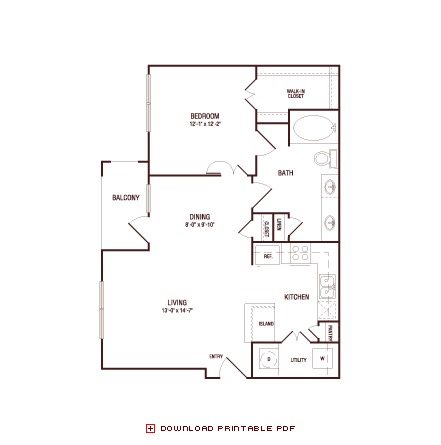 783 sq. ft. Red Oak floor plan