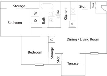 781 sq. ft. B1/B1R floor plan