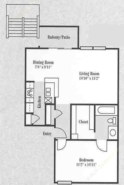 913 sq. ft. A3 floor plan