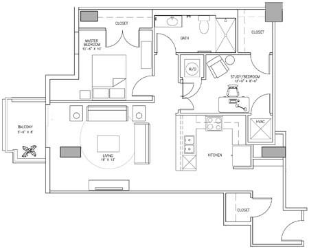 1,010 sq. ft. N floor plan