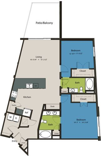 1,370 sq. ft. B3A floor plan
