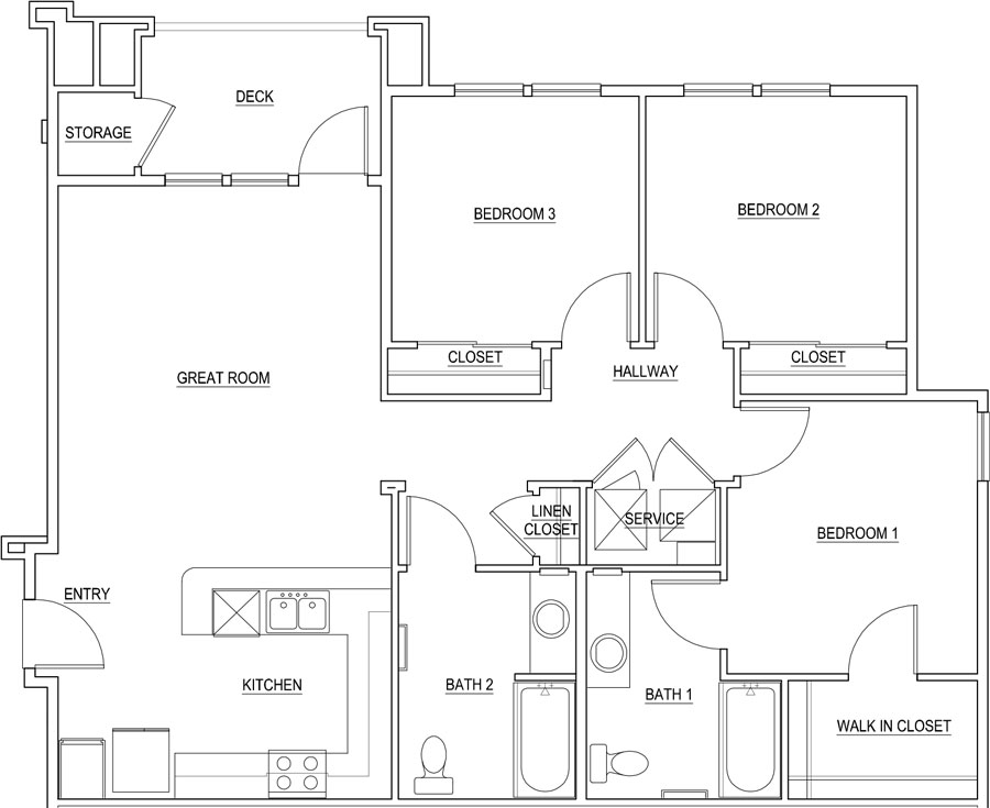 1,238 sq. ft. Coral/30% floor plan