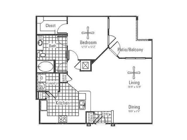 1,002 sq. ft. floor plan