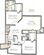 1,087 sq. ft. Primrose floor plan